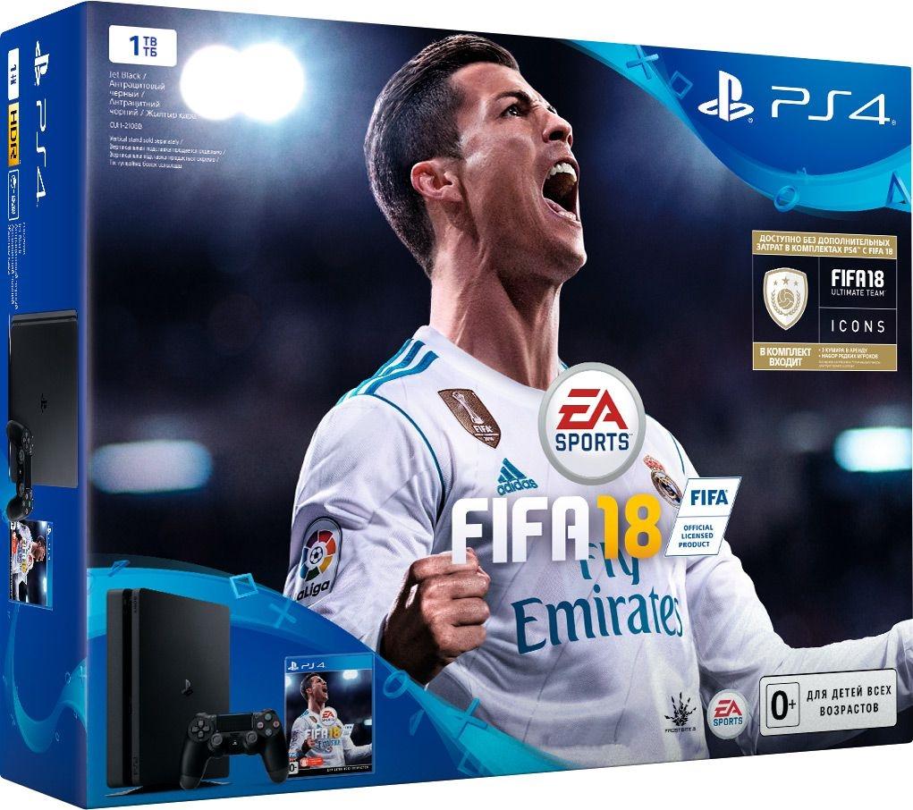 Игровая консоль Sony PlayStation 4 Slim (1 TB) Black + игра FIFA 18 + PS Plus 14 днейКомплект включает в себя игровую консоль Sony PlayStation 4 Slim (1TB) Black, игру FIFA 18 и PS Plus 14 дней<br>