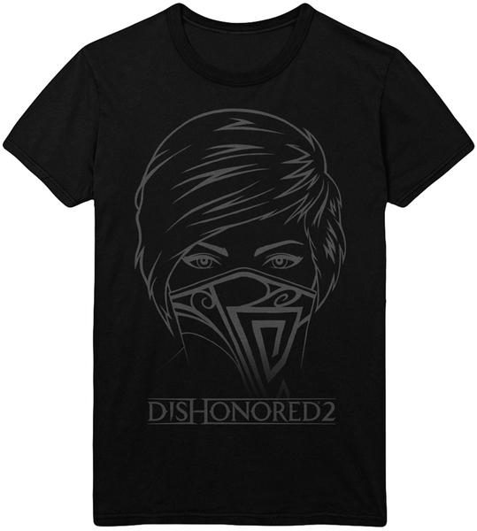 Футболка Dishonored 2: Emily (черная)На футболке Dishonored 2: Emily размера XL изображено лицо Эмили Колдуин, протагониста игры Dishonored 2.<br>