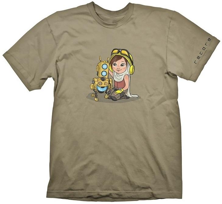 Футболка Recore: Joule Cute (бежевая)На футболке Recore: Joule Cute бежевого цвета размера S изображены Джоуль Адамс и ее корбот Мак в стиле манги.<br>
