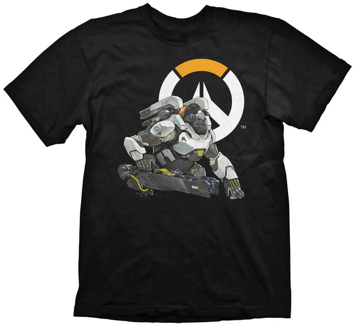 Футболка Overwatch: Winston Logo (черная)На футболке Overwatch: Winston Logo черного цвета размера XL изображен Уинстон на фоне логотипа игры.<br>