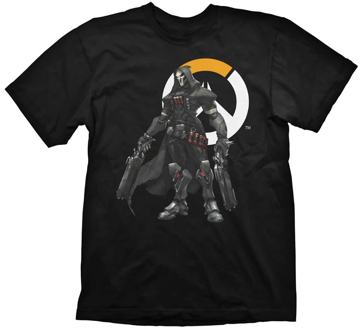 Футболка Overwatch: Reaper Logo (черная) (S)На футболке Overwatch: Reaper Logo черного цвета размера S изображен Жнец на фоне логотипа игры.<br>