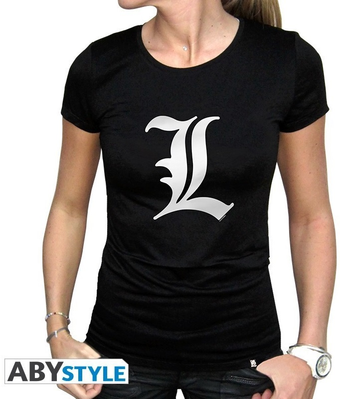 Футболка женская Death Note: L Tribute (черная)На женской футболке Death Note: L Tribute черного цвета размера XL изображен знак величайшего в мире детектива L.<br>