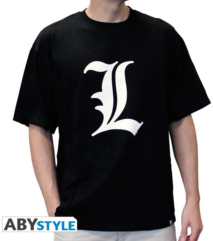 Футболка мужская Death Note: L Tribute (черная)На мужской футболке Death Note: L Tribute черного цвета размера S изображен знак величайшего в мире детектива L.<br>