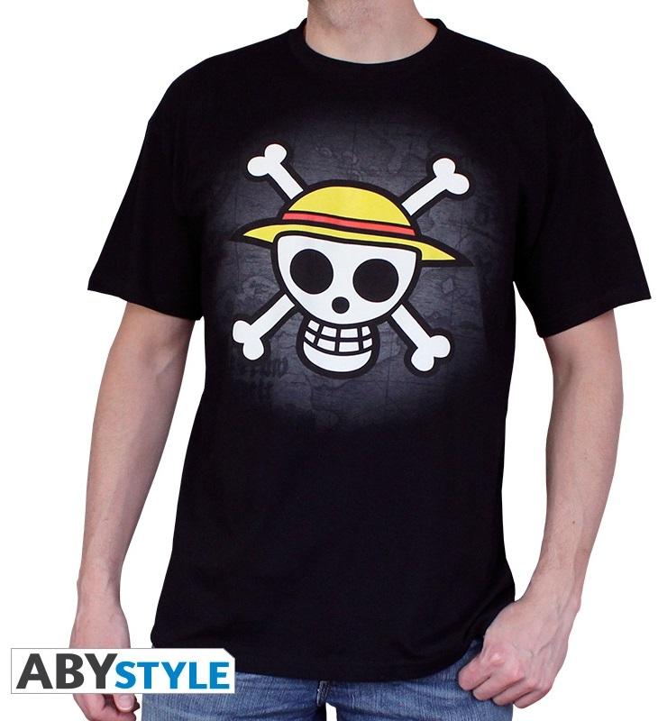 Футболка One Piece: Skull With Map (черный)На футболке One Piece: Skull With Map черного цвета размера S изображен пиратский флаг из аниме One Piece.<br>