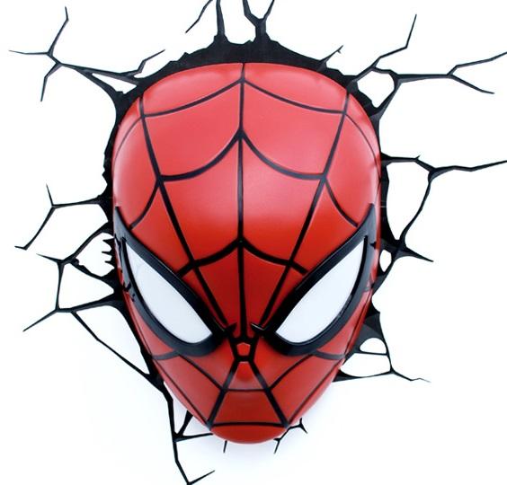 3D-Светильник Spiderman MaskБудьте оригинальны в выборе подарка! Если вы хотите преподнести нечто неординарное, то обратите внимание на 3D светильник от 3DLightFX, выполненный в виде маски Человека-Паука, которая буквально въехала в стену, оставив на ней трещины.<br>