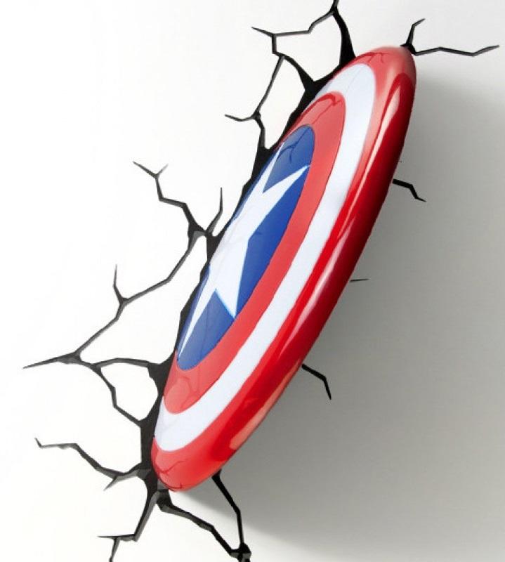 3D-Светильник Captain America ShieldБудьте оригинальны в выборе подарка! Если вы хотите преподнести нечто неординарное, то обратите внимание на 3D светильник от 3DLightFX, выполненный в виде щита супергероя Капитана Америки, который буквально въехал в стену, оставив на ней трещины.<br>