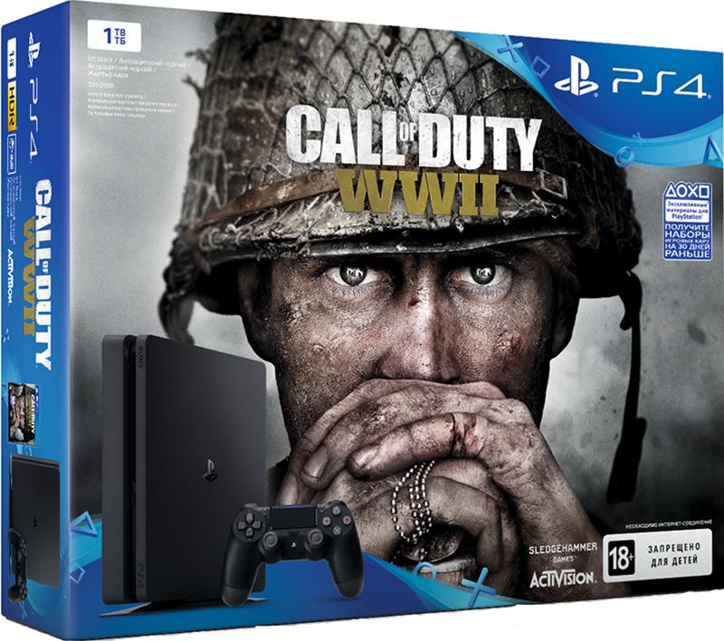 Игровая консоль Sony PlayStation 4 Slim (1 TB) Black + игра Call of Duty: WWIIКомплект включает в себя игровую консоль Sony PlayStation 4 Slim (1TB) Black и игру Call of Duty: WWII<br>