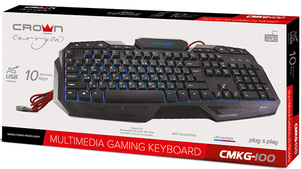 Клавиатура Crown CMKG-100 проводная игровая с подсветкой для PCИгровая клавиатура с подсветкои&amp;#774; Crown CMKG-100. Корпус утяжеле&amp;#776;н металлическои&amp;#774; пластинои&amp;#774;, что препятствует смещению клавиатуры в самые ответсвенные игровые моменты. Светодиодная подсветка клавиш выделяет яркии&amp;#774; дизаи&amp;#774;н и позволяет использовать клавиатуру при недостаточном освещении.<br>