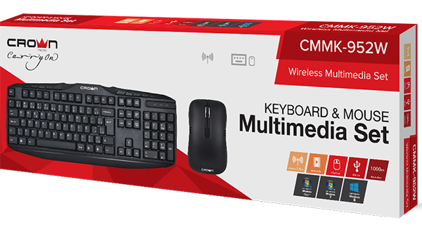 Клавиатура Crown CMMK-952W беспроводная + мышь Crown беспроводная для PC / MacБеспроводной набор: клавиатура мультимедийная + мышь, 10 мультимедийных клавиш. Один ресивер на два устройства.<br>