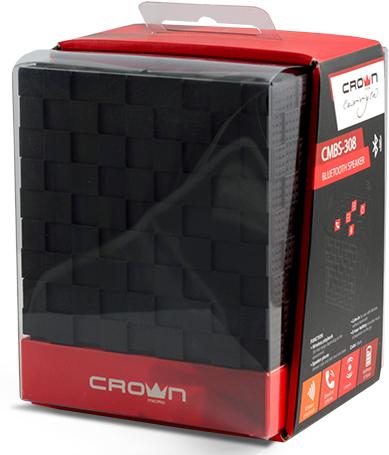 Беспроводная колонка Crown CMBS-308Портативный Bluetoch Speaker CMBS-308 не смотря на маленькие размеры заполнит все пространство качественным звучанием любимых мелодий, где бы вы не находились. Его стильная форма куба не оставит никого равнодушным, а покрытие soft-touch придаст комфорта в использовании.<br>