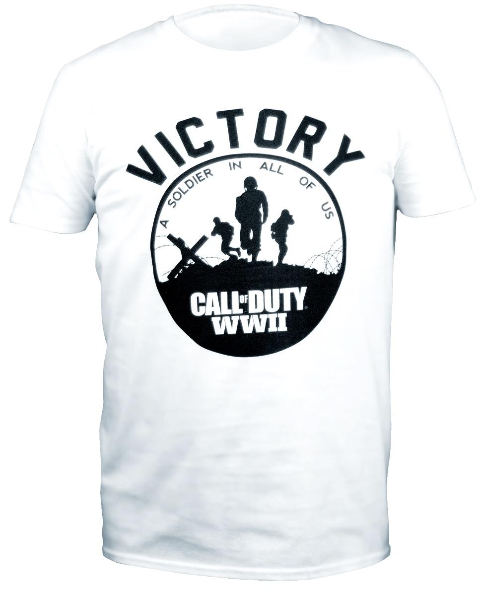 Футболка Call Of Duty WWII: Victory Soldier (белая)Лицензионная футболка с круглым воротом из 100% хлопка Call Of Duty WWII: Victory Soldier станет отличным подарком для фанатов игры и легендарной серии в целом.<br>