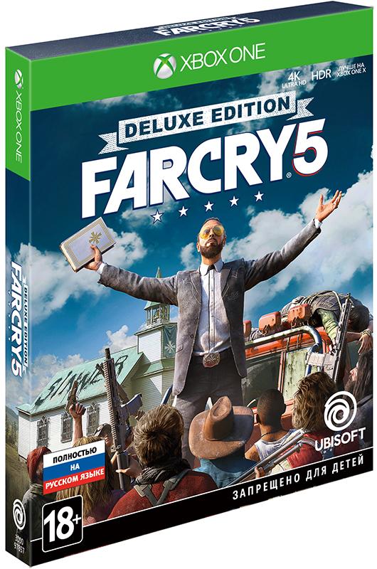 Far Cry 5. Deluxe Edition [Xbox One]Действие новой игры Far Cry 5 из знаменитой серии разворачивается в США. Добро пожаловать в округ Хоуп штата Монтана. Этот живописный уголок стал домом для людей, по-настоящему ценящих свободу... а еще для секты религиозных фанатиков под названием Проект «Врата Эдема». Секту возглавляет Иосиф Сид, считающий себя пророком, вместе с братьями и сестрой &amp;ndash; так называемыми Вестниками.<br>
