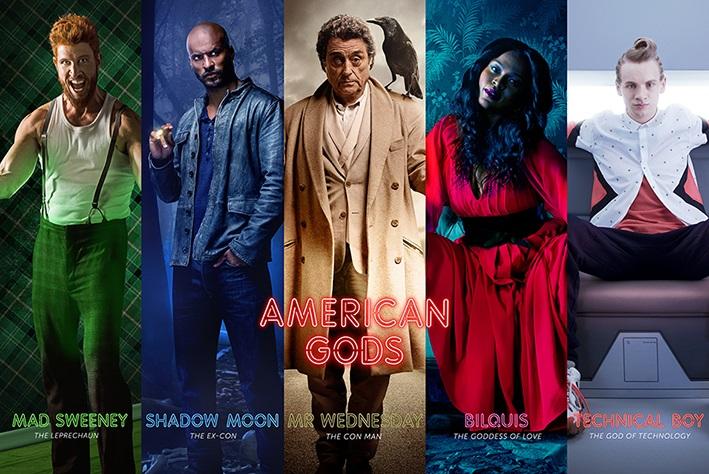 Плакат American GodsПлакат American Gods создан по мотивам американского телесериала, основанного на одноименном романе английского писателя Нила Геймана «Американские боги».<br>