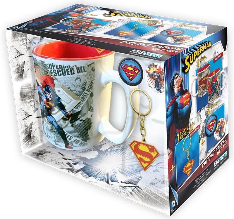 Подарочный набор Superman (кружка, брелок, значки)Подарочный набор Superman создан по мотивам серии комиксов и фильмов вселенной DC об одном из самых популярных супергероев – Супермене.<br>