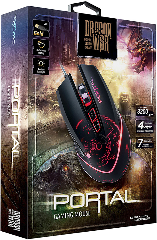 Мышь Qumo Dragon War Portal M39 проводная игровая с подсветкой для PCМышь Qumo Dragon War Portal M39 имеет эффектный светящийся рисунок на внешней поверхности мыши украшает рабочее место а динамически изменяющаяся подсветка четырех цветов привлекает внимание.<br>