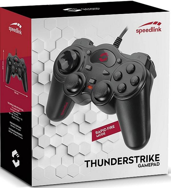 Геймпад Speedlink ThunderStrike проводной для PCГеймпад ThunderStrike не требует установки специальных драйверов на вашем компьютере, что в совокупности с его эргономичным дизайном делает его использование максимально комфортным и простым.<br>