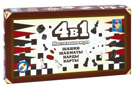 Набор настольных игр 4 в 1 (шашки, шахматы, нарды, карты)Набор настольных игр 4 в 1 включает в себя всем известные игры: шашки, шахматы, нарды, карты.<br>