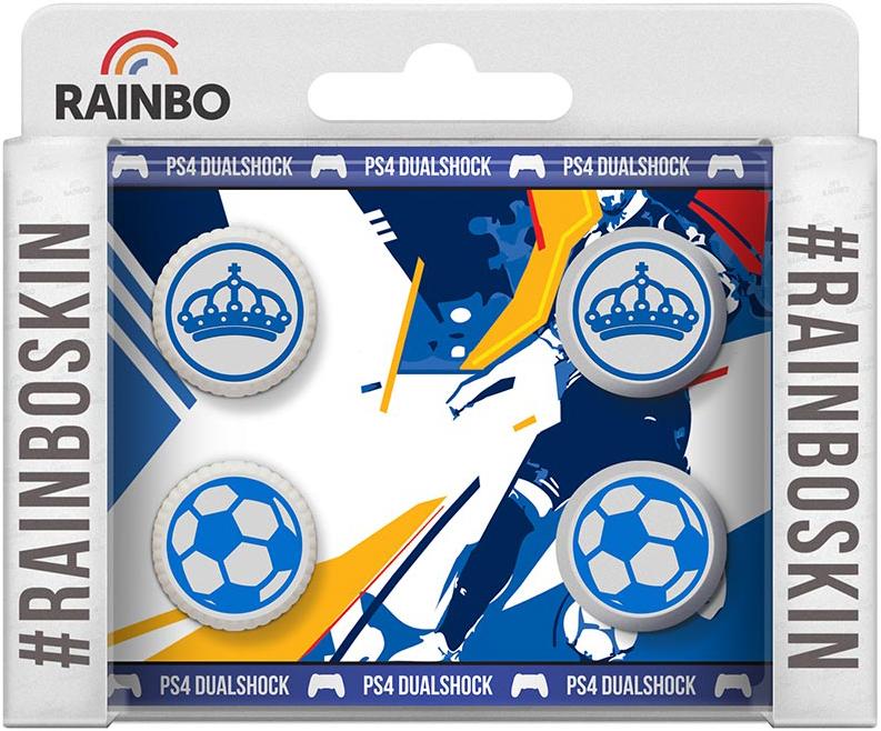Полимерные накладки на стики для беспроводного контроллера Королевские DualShock 4 для PS4Кастомизированные полимерные накладки на стики джоймтика дуалшок 4 для игровой консоли  Playstation 4 коллекции Королевские улучшат внешний вид обычного геймпада или дополнят дизайн контроллера кастомизированного компанией Rainbo.<br>