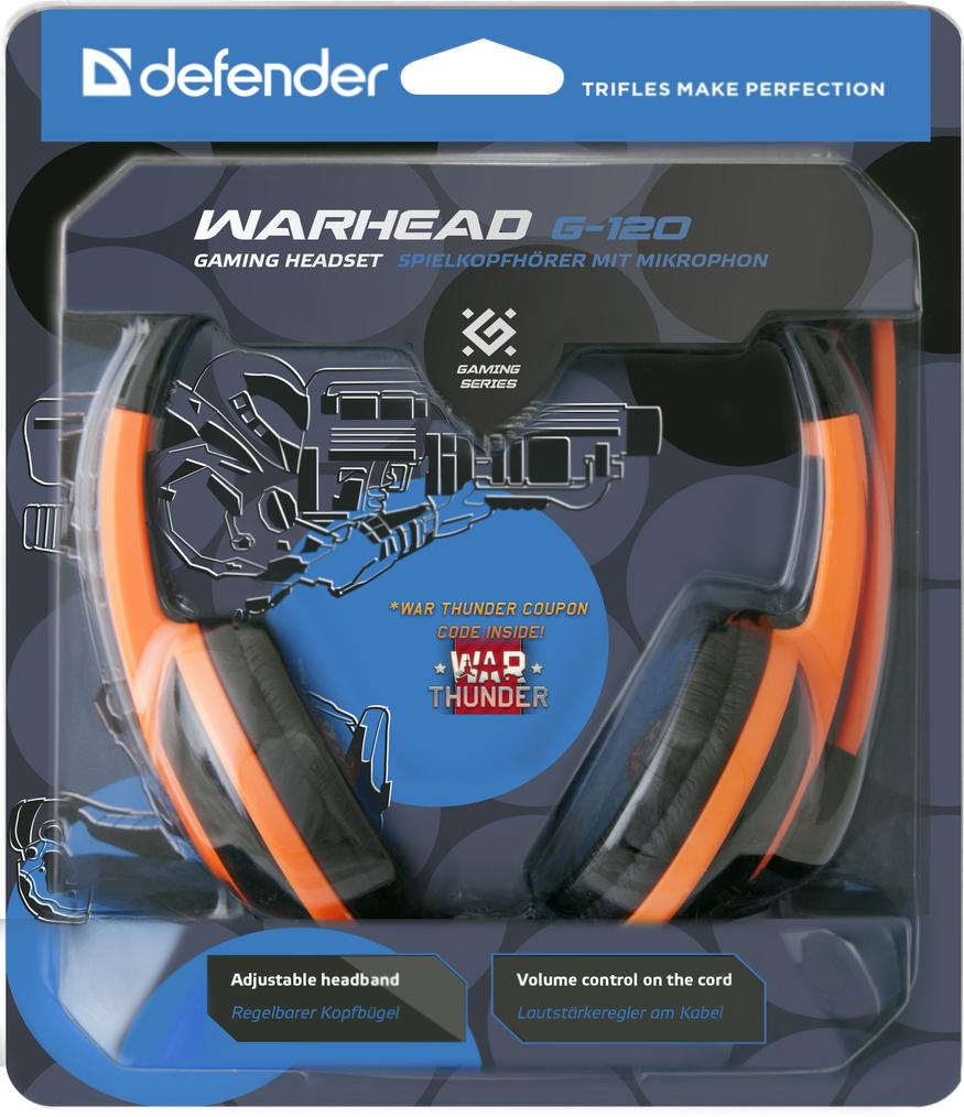 Гарнитура Defender Warhead G-120 игровая проводная для PC (черно-оранжевый) гарнитура defender warhead g 170 черный 64114