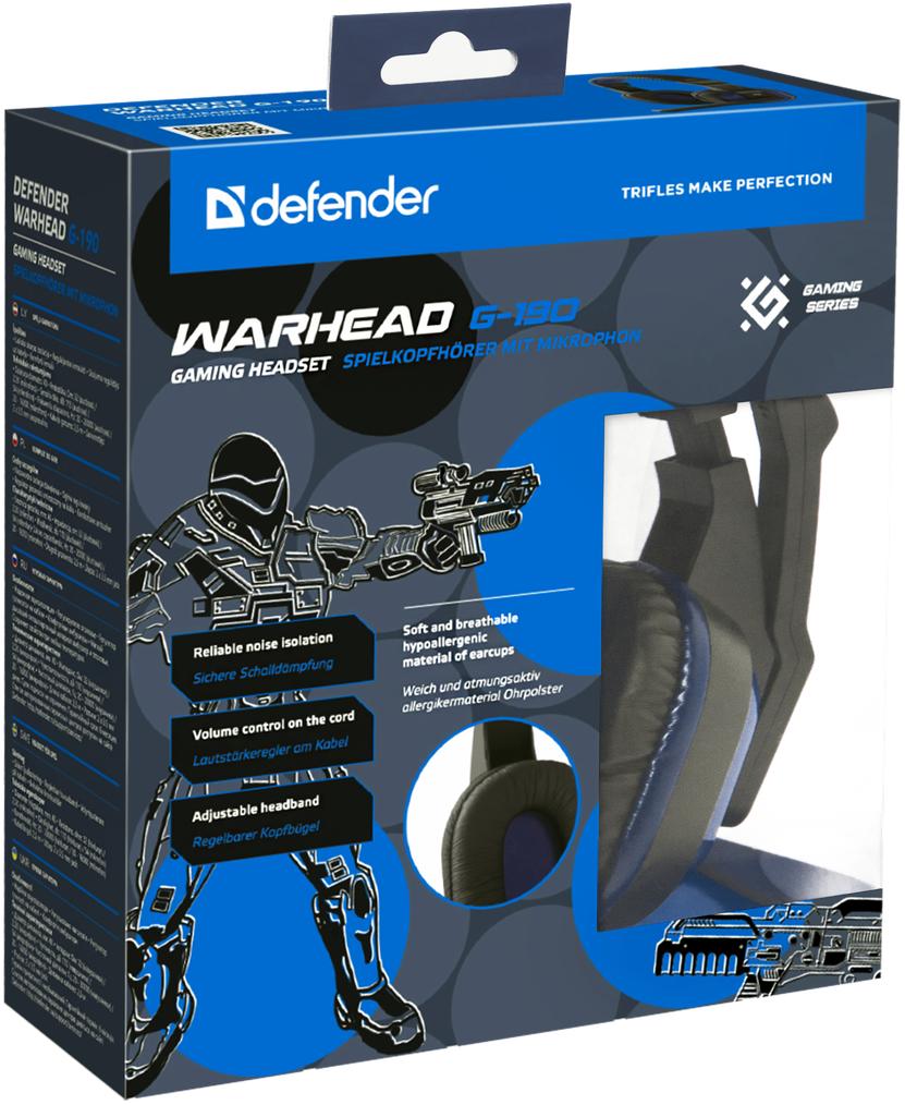 Гарнитура Defender Warhead G-190 игровая проводная для PC (сине-черный) гарнитура gaming warhead g 170 black 64114 defender