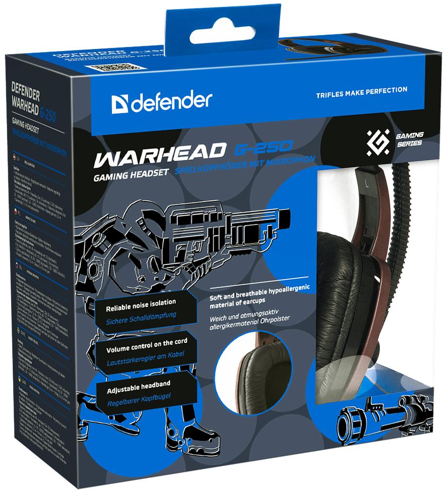 Гарнитура Defender Warhead G-250 игровая проводная для PC (коричневый)Проводная игровая гарнитура Defender Warhead G-250 в стильном оформлении и коричневом цвете.<br>