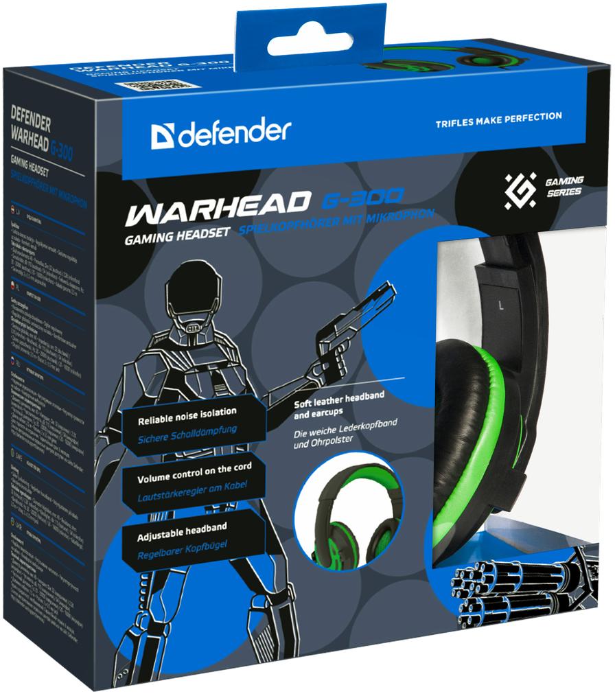 Гарнитура Defender Warhead G-300 игровая проводная для PC (зеленый) defender warhead g 250
