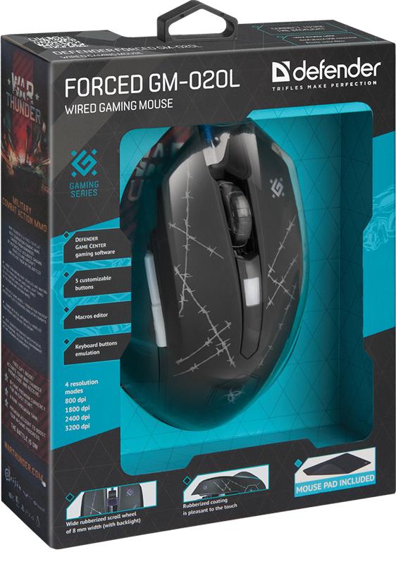 Мышь Defender Forced GM-020L игровая оптическая с подсветкой для PC