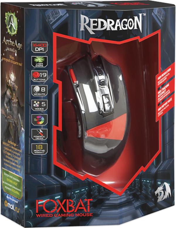 Мышь Redragon Foxbat проводная игровая лазерная с подсветкой для PC12 боковых кнопок. Уникальное покрытие Sand Rubber Skin, многоцветная настраиваемая подсветка, подсветка колеса прокрутки, специальная кнопка FIRE с подавлением отдачи, кнопка переключения профилей MODE. Все это Мышь Redragon Foxbat.<br>