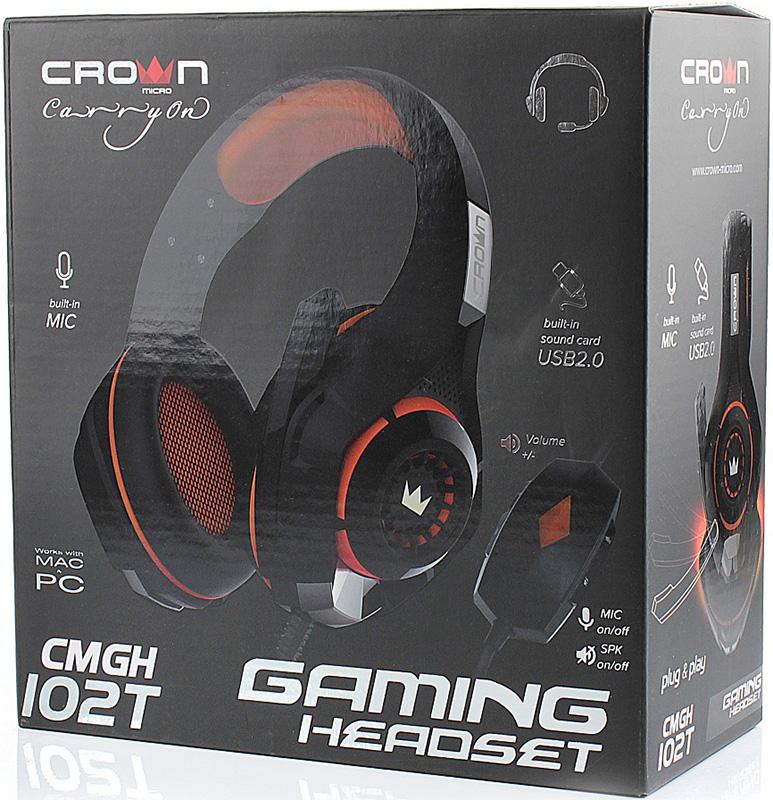 Гарнитура Crown CMGH-102T проводная игровая для PC (черный / оранжевый) столик для ноутбука до 15 6 crown cmls 102 алюминий пластик