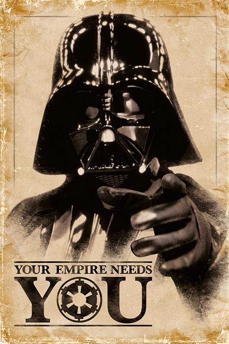 Плакат Star Wars: Your Empire Needs YouПлакат Star Wars: Your Empire Needs You создан по мотивам культовой фантастической франшизы в жанре космической оперы «Звездные войны».<br>