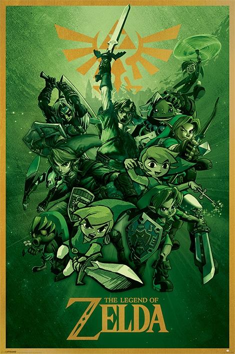 Плакат The Legend Of Zelda: Link the legend of zelda cosplay weapons link swords shield pendants necklace 12pcs set anpd2164