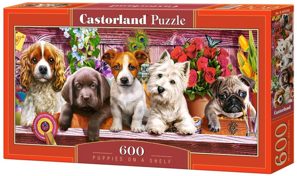Puzzle-500: Щенки на полке (Puppies on a Shelf)Соберите пазл Щенки на полке, состоящий из 600 элементов, и насладитесь яркими и сочными красками картины, которая подарит вам и окружающим прекрасные эмоции.<br>