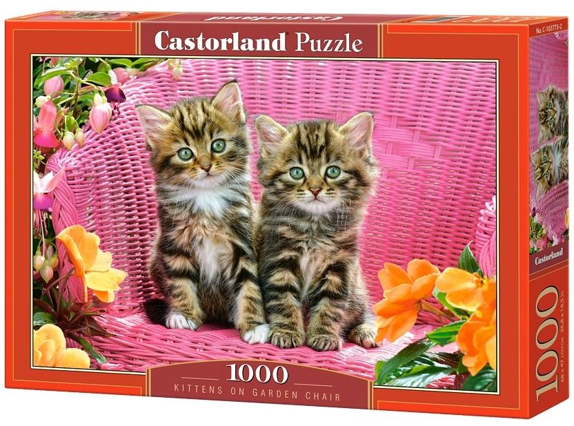 Puzzle-500: Котята на садовом стуле (Kittens on Garden Chair)