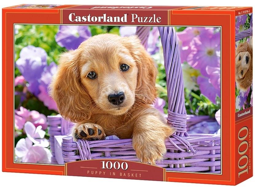 Puzzle-500: Щенок в корзине (Puppy in Basket) искусственные ромашки в корзине