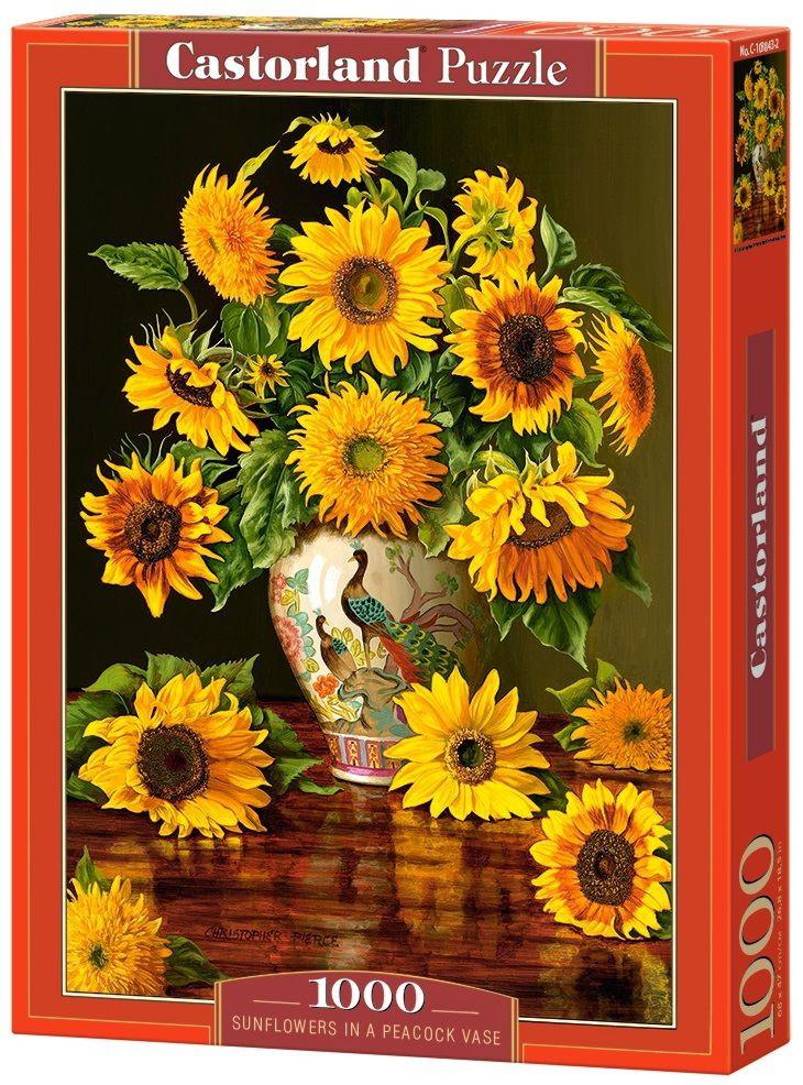 Puzzle-500: Подсолнухи в вазе (Sunflowers in a Peacock Vase)