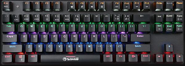 Клавиатура Marvo Scorpion KG914 механическая игровая с радужной подсветкой для PCКлавиатура Marvo Scorpion KG914 – это механическая игровая клавиатура с радужной подсветкой, построенная на игровых переключателях Blue. Механические переключатели имеют четкий клик, тактильную отдачу, срок службы в 50 млн нажатий и индивидуальную подсветку.<br>