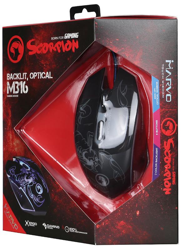 Мышь Marvo Scorpion M316 игровая проводная оптическая с подсветкой для PC игровая гарнитура проводная marvo h8312 bk rd красный черный