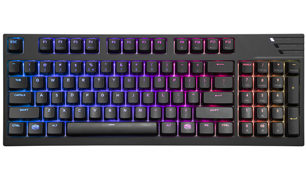 Клавиатура Cooler Master MasterKeys Pro M RGB Cherry MX Red игровая проводная механическая с подсветкой для PC (SGK-6040-KKCR1-RU) клавиатура corsair strafe cherry mx red black usb ch 9000088 ru