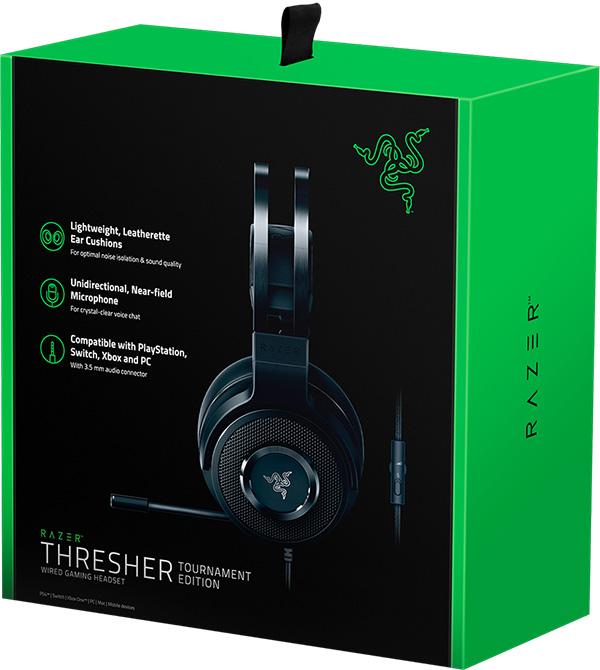 Гарнитура Razer Thresher Tournament для PC / Mac / PS4 / Xbox OneКогда мы обратились к киберспортсменам с вопросом, что для них важнее всего в игровой гарнитуре, они в один голос ответили: «комфорт». В ответ на это и многое другое мы выпустили гарнитуру Razer Thresher Tournament Edition.<br>