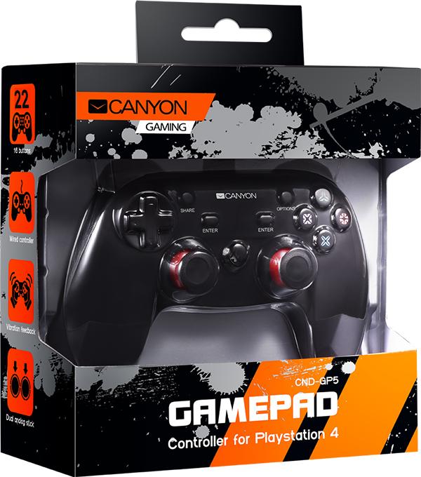 Проводной геймпад Canyon CND-GP5 + 2 мини-джойстика для PS4 cnd creative play вase coat 13 6 мл