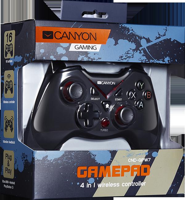 Беспроводной геймпад Canyon CND-GPW7 для PS3 / Xbox 360 / PCКонтроллер Canyon CND-GPW7 подходит ко всем наиболее популярным игровым консолям. Эргономичная форма, впечатляющий тактильный отклик, легкие победы в любимых играх &amp;ndash; геймпад обеспечит вам 100% погружение в атмосферу игры. Контроллер быстро перезаряжается и способен проработать на одном заряде до 8 часов. Максимальное расстояние от консоли &amp;ndash; 8 метров, так что располагайтесь поудобнее и начинайте игру!<br>