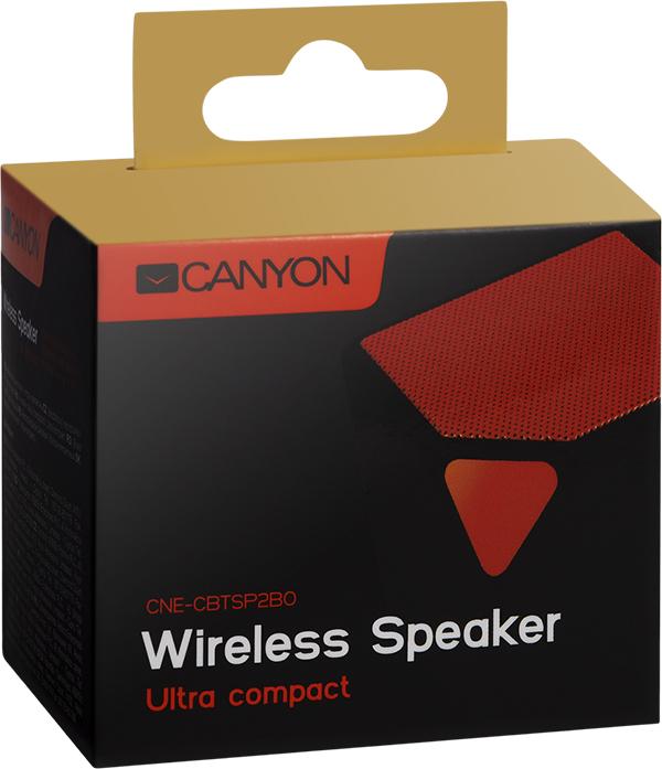 Портативная беспроводная колонка Canyon CNE-CBTSP2BOЭтот миниатюрный футуристичный динамик станет отличным выбором для ценителей необычного дизайна и широкой функциональности. Слушайте любимую музыку и принимайте телефонные звонки с хорошим качеством звука в течении почти 8 часов на одной подзарядке, подключайтесь к любому плееру через AUX-разъем или Bluetooth и наслаждайтесь абсолютной легкостью и мобильностью.<br>