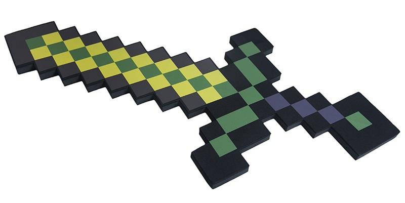 Пиксельный меч золотой 8 Бит (60 см) пиксельный меч ледяной 8 бит зеленый 60 см