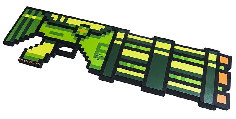 Пиксельный миниган 8 Бит со звуком (зеленый) (61 см) большой пиксельный универсальный чехол для смартфона pixel felt phone pocket фуксия зеленый