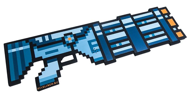 Пиксельный миниган 8 Бит со звуком (синий) (61 см)Миниган в пиксельном варианте подойдет для всех ценителей 8-ми и 16-ти битных игр.<br>