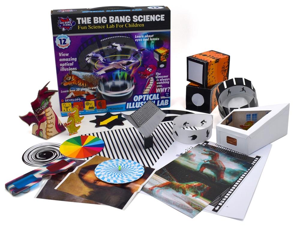 Набор Оптические иллюзииВеселые научные эксперименты для детей «Big Bang Science». Научный набор Оптические иллюзии развивает сенсорику, мелкую моторику, интерес к науке, творческое воображение.<br>