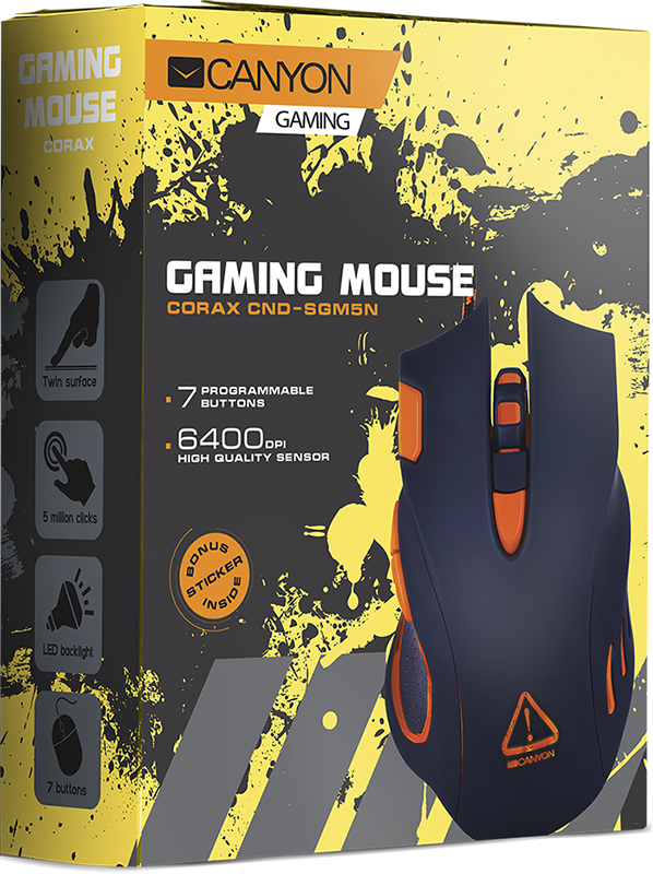 Мышь Canyon Corax (CND-SGM5N) оптическая проводная игровая для PC canyon игровая проводная оптическая мышь canyon cnd sgm1
