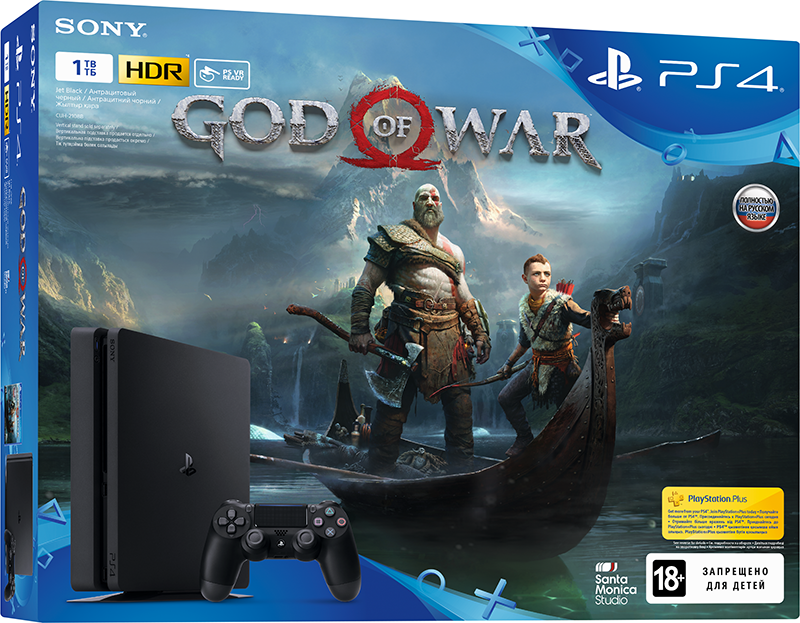Игровая консоль Sony PlayStation 4 Slim (1TB) Black + игра God of War игровая приставка playstation 4 хиты playstation в комплекте с тремя играми horizon zero dawn god of war 3 uncharted 4 и подпиской playstation plus 90д