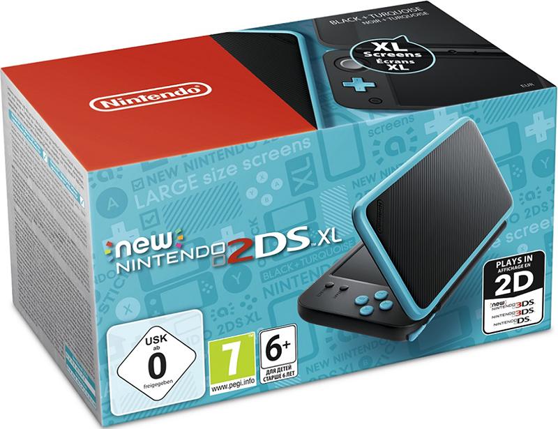 Игровая консоль New Nintendo 2DS XL (черный / бирюзовый) new nintendo 2ds xl white orange портативная игровая приставка