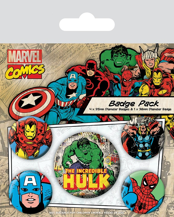 Набор значков Marvel Retro: Hulk s s ледянка marvel hulk